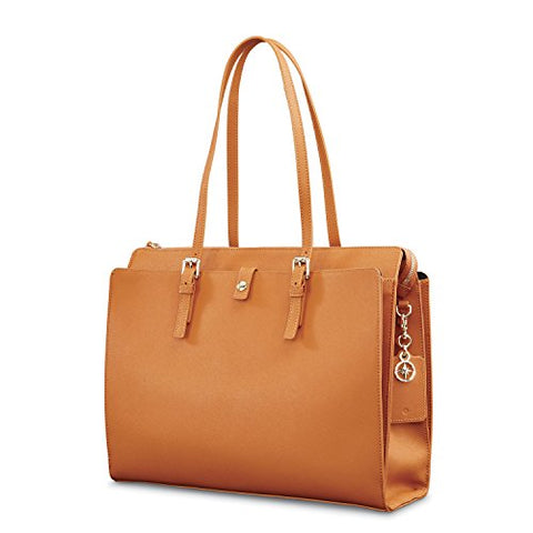 Samsonite Ladies Leather N/S Tote Cognac
