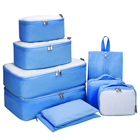 G4Free 9 Set Packing Cubes - Water Resistant Mesh Travel Luggage Accessories Packing Organizer with