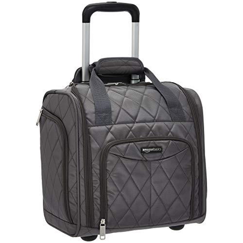 AmazonBasics Underseat Luggage, Grey Quilted