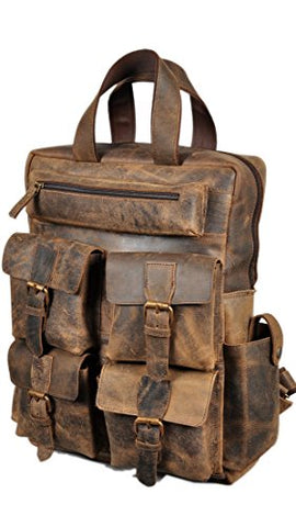 "Devil Hunter 18"" Leather Backpack For Men / Women Brown Leather Laptop Backpack"