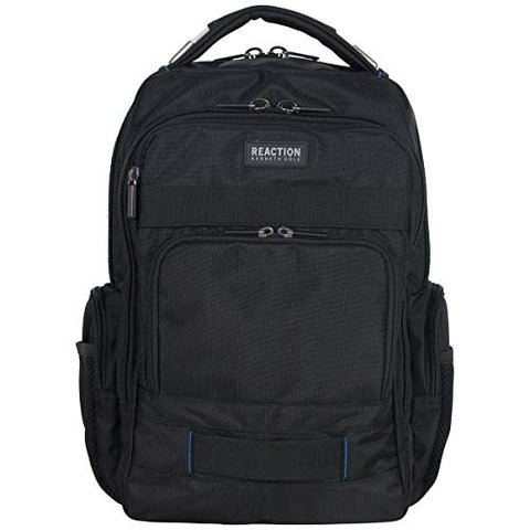 "Kenneth Cole Reaction Polyester Triple Compartment 17"" Laptop Business Backpack with Techni-Cole RFID, Black One Size"