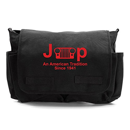 Jeep An American Tradition Army Heavyweight Canvas Messenger Shoulder Bag in Black & Red
