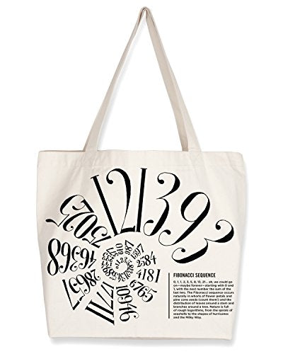 Cognitive Surplus Typographic Nautilus Spiral Fibonacci Number Sequence Tote Bag. (10 oz Recycled Cotton)