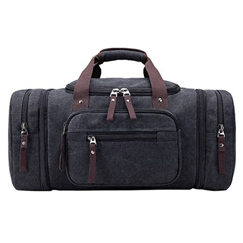ABage Large Duffle Bag Canvas Travel Overnight Gym Weekend Tote Luggage Duffel Bags, Black