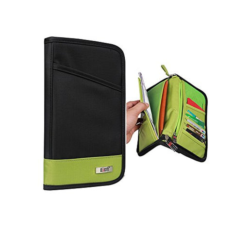 Bubm Travel Family Passport Wallet Holder Documents Organizer Zipper Case Cover