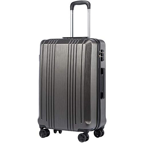 "Coolife Luggage Expandable(only 28"") Suitcase PC+ABS with TSA Lock Spinner 20in 24in 28in (grey, S(20in_carry on))"