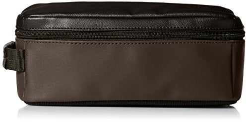 Lee Men'S Pebble Textured Leather Travel Kit, Black/Brown