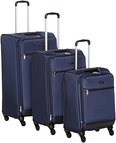 "Amazonbasics Softside Spinner Luggage - 3 Piece Set (21"", 25"", 29""), Navy Blue"