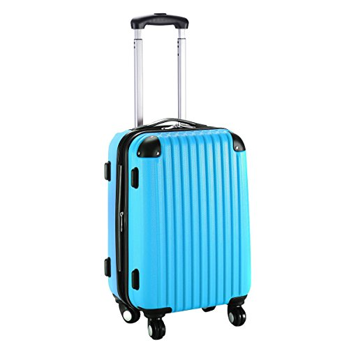 "GHP 15.2""x10.4""x22.4"" Blue Scratch-resistant Lightweight & Durable Trolley Suitcase"