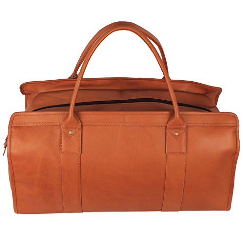 Latico Leathers Washington Weekender Travel Bag , Natural, Easy Entry Travel Bag for All Occasions, Adjustable Duffel