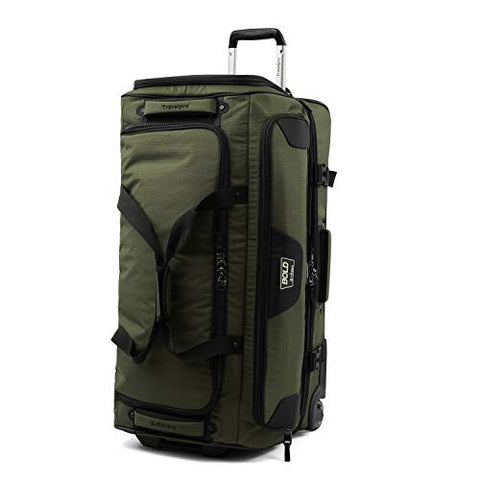 "Travelpro Bold 30"" Duffle Bag With Drop Bottom, Lightweight, Rugged Rolling Duffel, Olive/Black,"