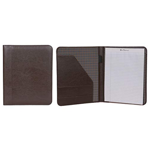 "Ben Sherman 12"" Faux Leather Bifold Writing Pad, Brown"