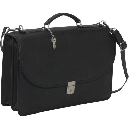 Jack Georges Platinum Collection Flapover Leather Laptop Briefcase (Black)