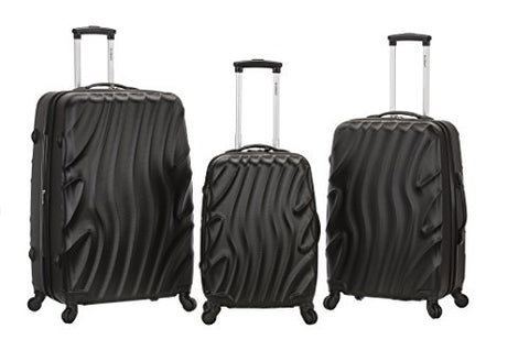 Rockland Melbourne 3 Piece Abs Luggage Set, Blackwave, One Size