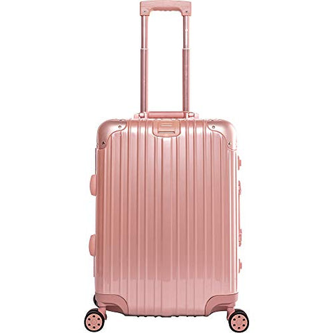 "Gabbiano Aurora Aluminum Frame 20"" Hardside Carry-On Spinner (Rose Gold)"