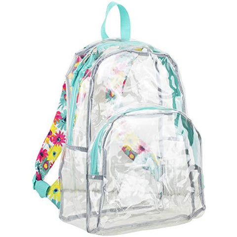 Eastsport Clear Backpack, Fully Transparent with Padded Straps, Clear/Turquoise/Watercolor Floral