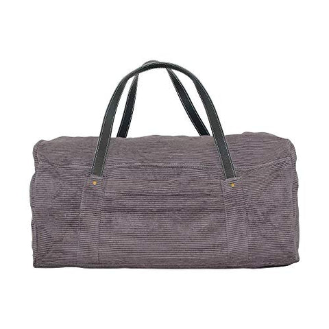 CB Station Modern Round Travel Duffel Bag, Corduroy (Gray)