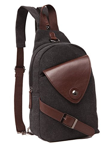 Zuolunduo Mini Backpack Casual Canvas Chest Bag Sling Shoulder Bag Rucksack M8639Xk,Black