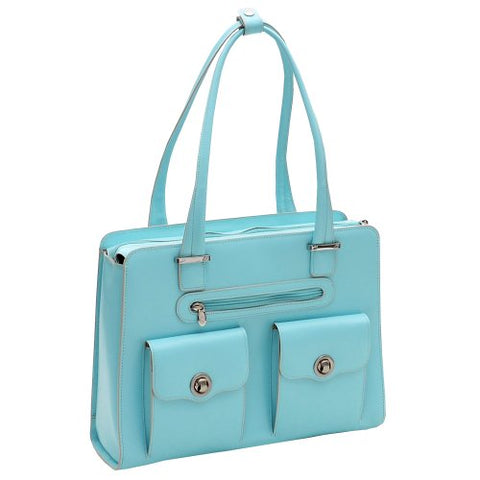 "McKlein, W Series, Verona, Top Grain Cowhide Leather, 15"" Leather Fly-Through Checkpoint-Friendly Ladies' Laptop Briefcase, Aqua Blue (96628)"
