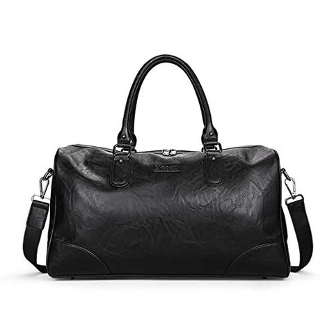 BAIGIO Men's Vintage Duffel Weekend Bag Oversize Travel Tote Faux Leather Overnight Duffle (Black)