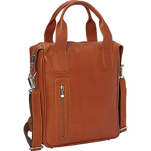 Piel Vertical Laptop Briefcase (Saddle)