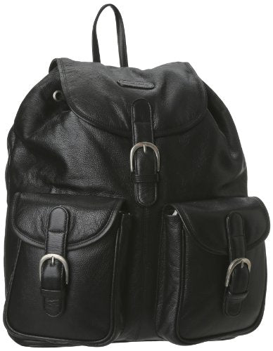 Leatherbay Leather Backpack With Pockets,Black,One Size