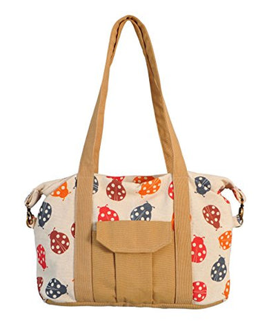 Ladybug Ladybug Print Picnic, Shopping Multi-Purpose Canvas Zipper Bag