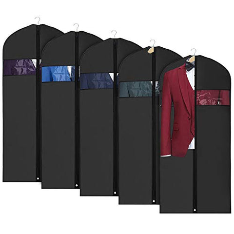Univivi Garment Bag Suit Bag for Storage and Travel 43 inch, Anti-Moth Protector, Washable Suit Cover for T-Shirt, Jacket, Suits, Coats, Set of 5