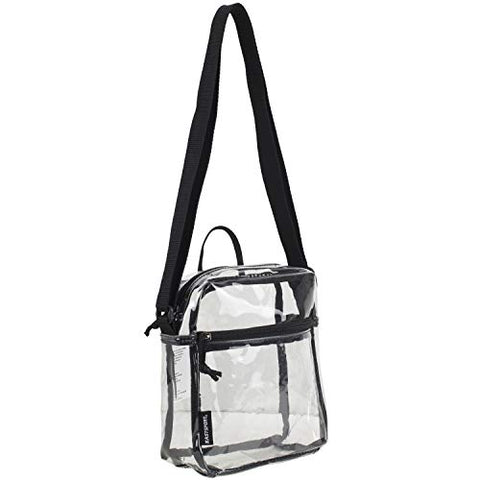 Eastsport Clear Stadium Crossbody Messenger Bag, 8.5 by 7.5 by 3 Inches, 100% Transparent, Black