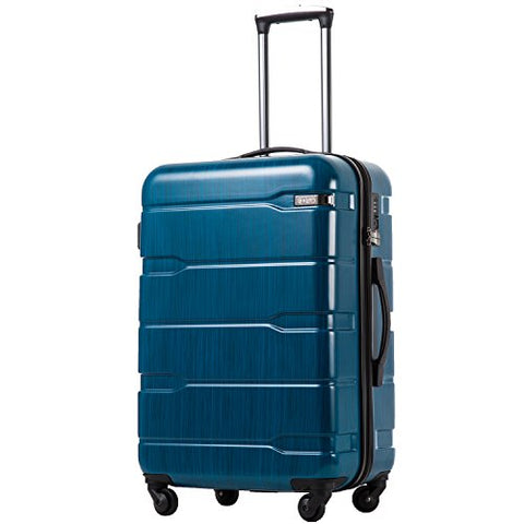 Coolife Luggage Expandable Suitcase Pc+Abs Spinner 20In 24In 28In Carry On (Caribbean Blue.,