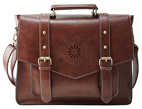 "ECOSUSI Women's Briefcase Messenger Laptop Bag PU Leather Satchel Work Bags Fits 14"" Laptop, Coffee"