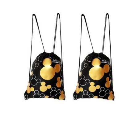 Disney Mickey Mouse Drawstring Backpack Gold 2 Pack