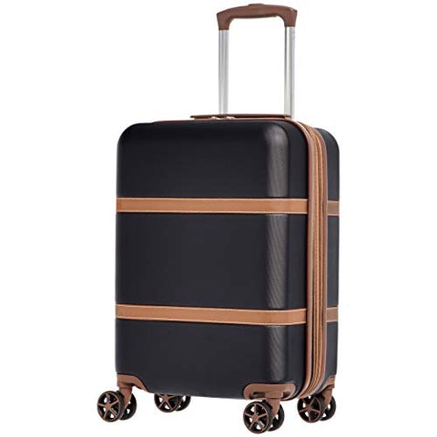 AmazonBasics Vienna Expandable Carry-On Luggage Spinner Suitcase - 20 Inch, Black