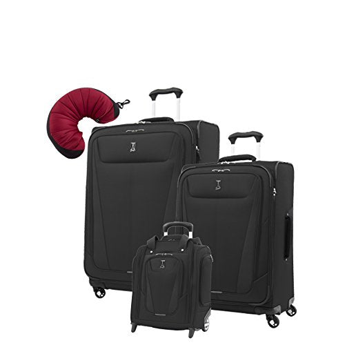 "Travelpro Maxlite 5 | 4-Pc Set | Underseater, 25"" & 29"" Exp. Spinners With Travel Pillow (Black)"