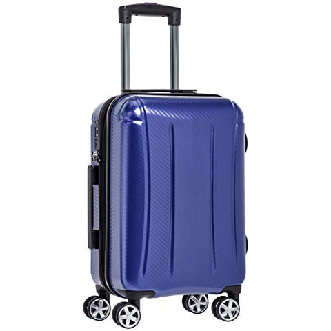 AmazonBasics Oxford Luggage Expandable Suitcase with TSA Lock Spinner, 20-Inch Carry-On, Blue