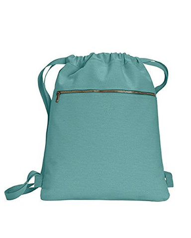 Zuzify Pigment Dyed Canvas Cinch Sak Drawstring Backpack. Fz0992 Os Seafoam