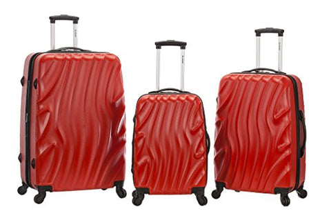 Rockland Melbourne 3 Piece Abs Luggage Set, Redwave, One Size