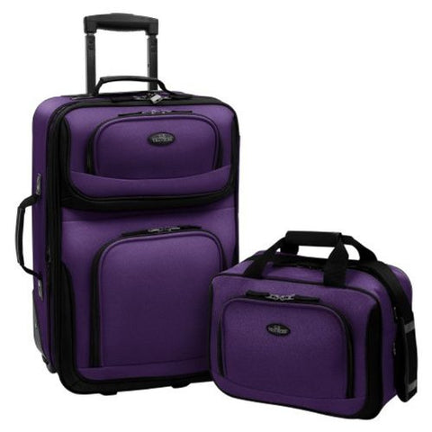 US Traveler  Rio Two Piece Expandable Carry-On Luggage Set, Purple, One Size