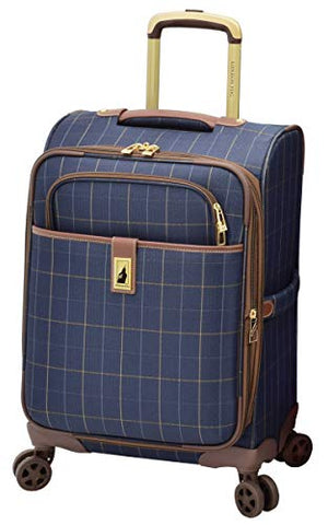 "London Fog Kensington II 20"" Expandable Spinner Carry On, Navy Window Pane"