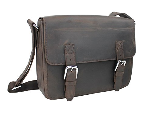 Vagabond Traveler Full Grain Cowhide Leather Casual Messenger Bag L60. Dark Brown
