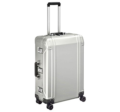 "Zero Halliburton Geo Aluminum 2.0 - 26"" 4-Wheel Spinner Travel Case Silver"