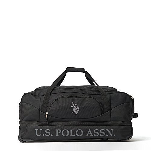 U.S. Polo Assn. Men's 30in Deluxe Rolling Duffle Bag, Split Level Storage, Black