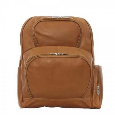 Piel Leather Half-Moon Laptop Backpack, Saddle