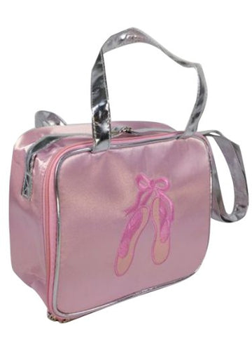 Pink Dance Bag With Embroidered Ballet Shoes And Silver Handles And Trim (Pink With Embroidered