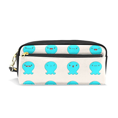 ColourLife Kawaii Octopus Emoticons PU Leather Pencil Case Holder Pouch Makeup Bags for Boys Girls Adults