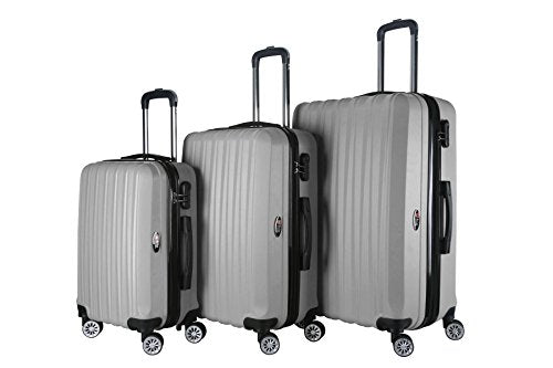 Brio Luggage 3-Piece Hardside Spinner Expandable Suitcase Set #1600 (Silver)