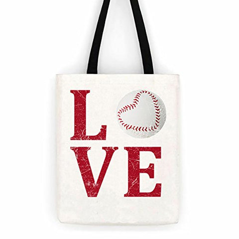 Distressed Red Love Baseball Cotton Canvas Tote Sport Bag Day Trip Bag