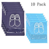 10 Pcs Travel Dust-Proof Shoe Bags With Drawstring And Transparent Window Shoe Organizer Space