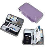 Family Passport Holder - Vemingo RFID-Blocking Travel Wallet Ticket Holder Document Organizer with Zipper for Women & Men, Fits 5 Passports (Purple)