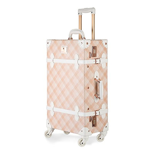 Unitravel Vintage Luggage Grid Pu Leather Retro Suitcase Spinner Wheels Women